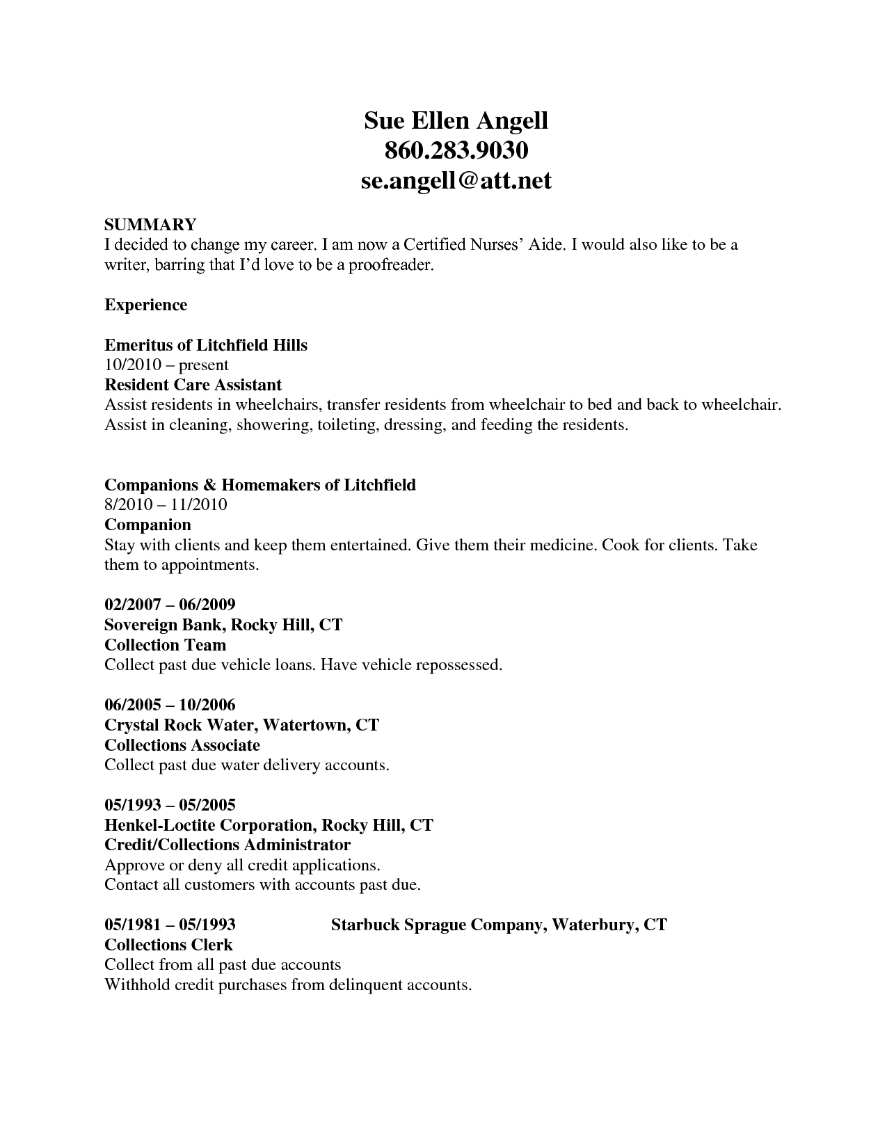 cna resume example click to zoom - Sample Certified Nursing Assistant Resume